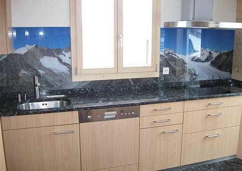 panoramafoto k chenr ckwand aus glas. Black Bedroom Furniture Sets. Home Design Ideas